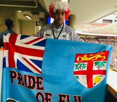 Fiji 7s fan proudly displays his support Jake/S1
