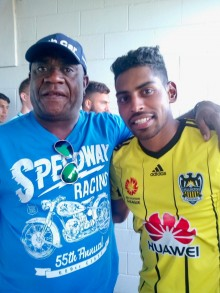Former Fiji footballing great, Kelemedi Vosuga and Roy Krishna