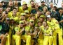 Australian cricketers celebrates there fifth win