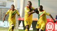 Mali players celebrate after beating Mexico