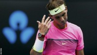 Dejected Rafeal Nadal after beaten by Tomas Berdych at Australian Open
