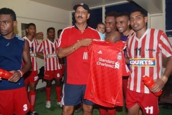 Krishna with Labasa coach Gurjit Singh during 2011 IDC. Photo credit S1.