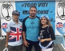 Fijian Honorary Consul of Canada Bobby Naicker flanked by John and Sharlin Prasad