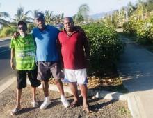 Former Nadi footballer Talat Khan with Fiji fooball legend Savenaca Waqa