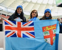 Fiji men's 7s fans, Sharlin Ugra and friends